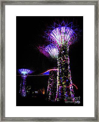 Neon Treescape Framed Print by Alina Davis
