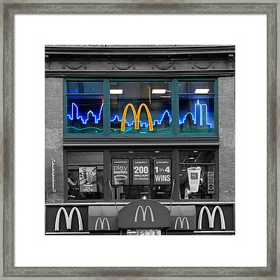 Neon Twin Towers Framed Print by Andrew Fare