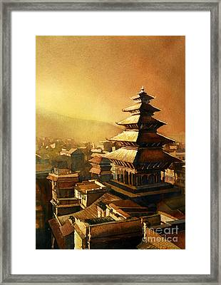 Nepal Temple Framed Print by Ryan Fox