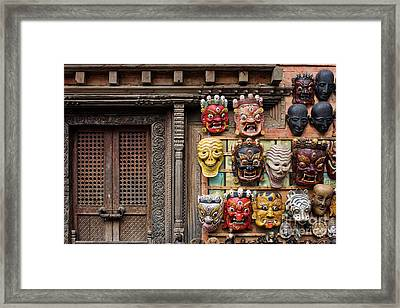 Nepalese Carving Framed Print by Tim Gainey