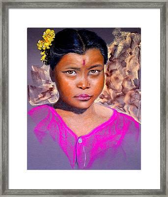 Nepalese Girl Framed Print by David  Horning