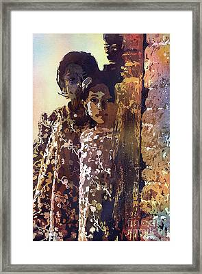 Framed Print featuring the painting Nepalese Girls by Ryan Fox