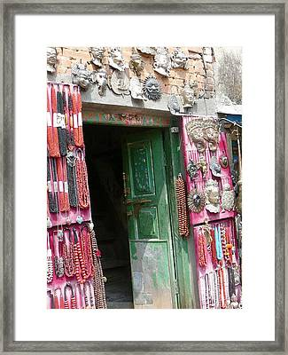 Nepalese Jewelry Shop Framed Print by Dagmar Batyahav