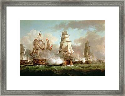 Neptune Engaged At The Battle Of Trafalgar Framed Print by J Francis Sartorius