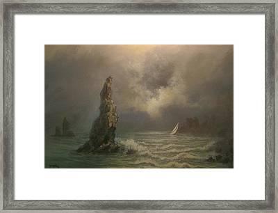 Neptune's Finger Framed Print by Tom Shropshire