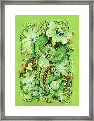 Neptunes Flowers Framed Print by Olena Kulyk