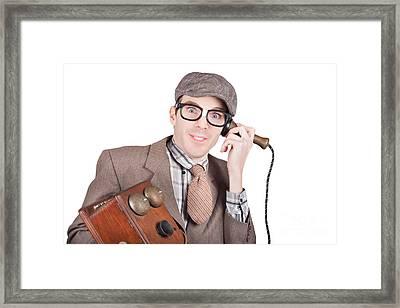 Nerd Businessman On A Funny Phone Communication Framed Print