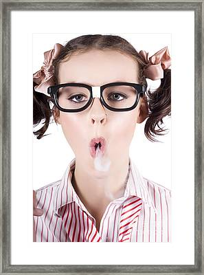Nerd Girl Blowing Smoke Rings From Cigarette Framed Print by Jorgo Photography - Wall Art Gallery