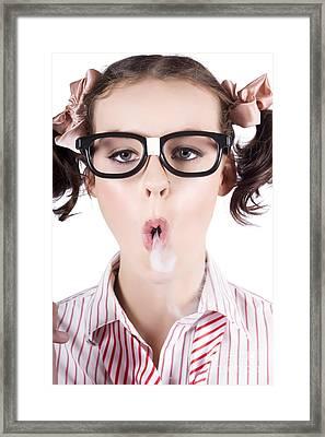 Nerd Girl Blowing Smoke Rings From Cigarette Framed Print