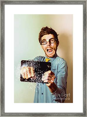 Nerd Needing Tablet Screen Repair Framed Print by Jorgo Photography - Wall Art Gallery