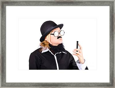 Nerd With Mobile Telephone Framed Print by Jorgo Photography - Wall Art Gallery