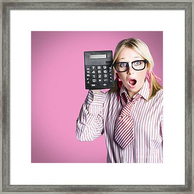 Nerdy Accounting Clerk Showing Tax Return Savings Framed Print by Jorgo Photography - Wall Art Gallery