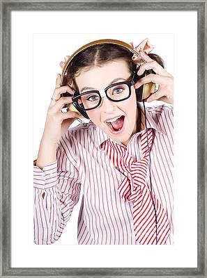 Nerdy Retro Schoolgirl Raving To Music On White Framed Print by Jorgo Photography - Wall Art Gallery
