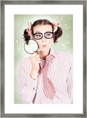 Nerdy School Girl Student With Education Question Framed Print