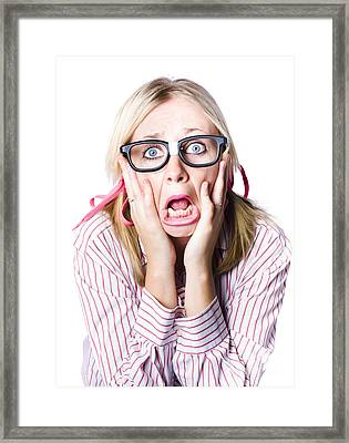 Nerdy Woman Reacting In Horror And Fright Framed Print by Jorgo Photography - Wall Art Gallery