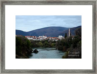 Neretva River And Mostar City And Hills With Mosque Minaret Bosnia Herzegovina Framed Print by Imran Ahmed