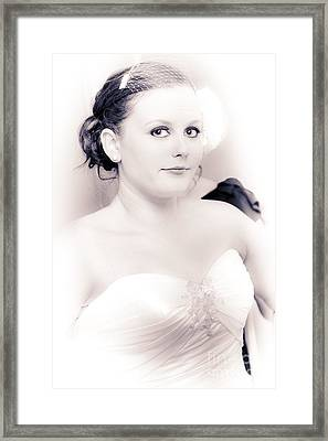 Nervous And Apprehensive Bride Getting Ready Framed Print