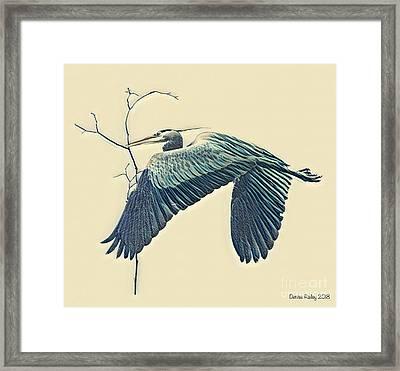 Nesting Heron Framed Print