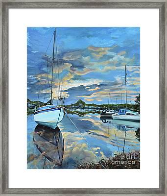 Nestled In For The Night At Mylor Bridge - Cornwall Uk - Sailboat  Framed Print