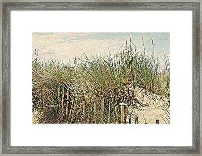 Netherlands - Dunes And Lighthouse Framed Print