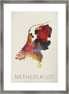 Netherlands Watercolor Map Framed Print