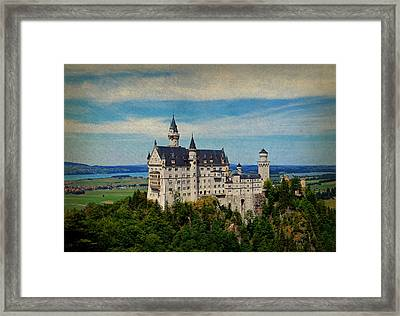 Neuschwanstein Castle Bavaria Germany Vintage Postcard Image Framed Print by Design Turnpike