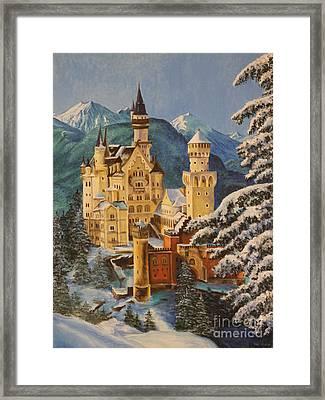 Neuschwanstein Castle In Winter Framed Print