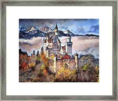 Framed Print featuring the digital art Neuschwanstein Castle by Pennie McCracken