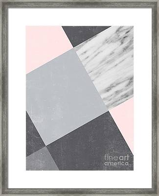 Neutral Collage With Marble Framed Print