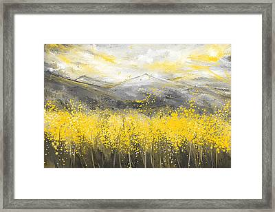 Neutral Sun - Yellow And Gray Art Framed Print