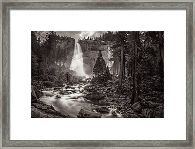 Framed Print featuring the photograph Nevada Fall Monochrome by Scott McGuire