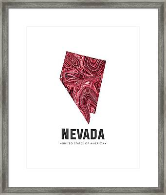 Nevada Map Art Abstract In Deep Red Framed Print