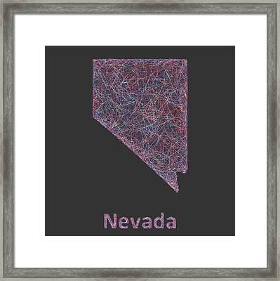 Nevada Map Framed Print