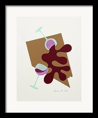 Long Stem Wine Glass Mixed Media Framed Prints
