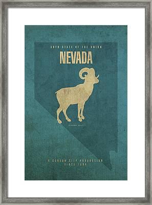 Nevada State Facts Minimalist Movie Poster Art Framed Print