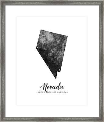 Nevada State Map Art - Grunge Silhouette Framed Print