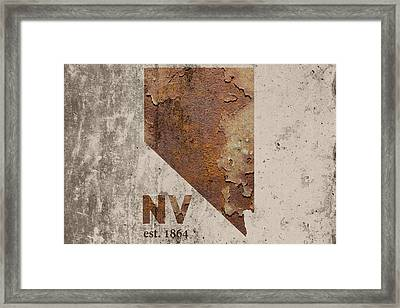 Nevada State Map Industrial Rusted Metal On Cement Wall With Founding Date Series 044 Framed Print by Design Turnpike