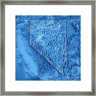 Nevada State Usa 3d Render Topographic Map Blue Border Framed Print