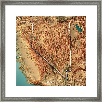 Nevada State Usa 3d Render Topographic Map Border Framed Print