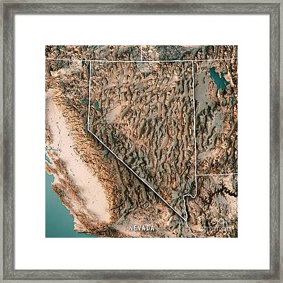 Nevada State Usa 3d Render Topographic Map Neutral Border Framed Print