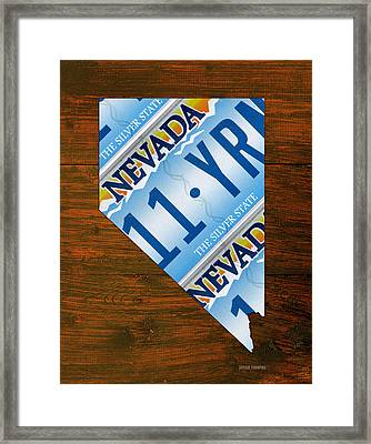 Nevada The Silver State Recycled License Plate Map Art Framed Print
