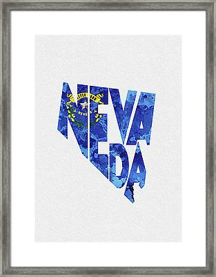 Nevada Typographic Map Flag Framed Print