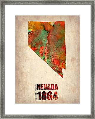 Nevada Watercolor Map Framed Print by Naxart Studio