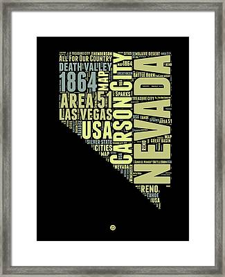 Nevada Word Cloud 1 Framed Print