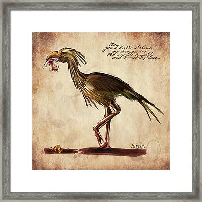 Never Bird Framed Print by Mandem