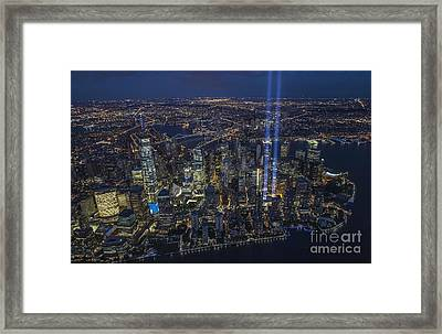 Framed Print featuring the photograph Never Forget-an Aerial Tribute by Roman Kurywczak