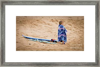 Never Too Young To Surf Framed Print by Denis Dore