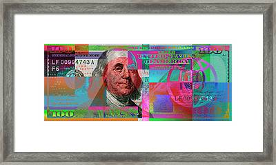 New 2009 Series Pop Art Colorized Us One Hundred Dollar Bill  No. 3 Framed Print by Serge Averbukh