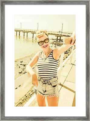 New Age Pin Up Taking Phone Selfie Framed Print by Jorgo Photography - Wall Art Gallery