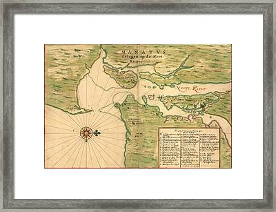 New Amsterdam In 1639. Earliest Map Framed Print by Everett